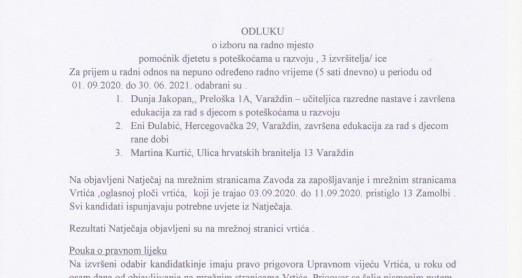 Rezultati Natječaja za pomoćnike/ice djeci s teškoćama u razvoju - 3 izvršitelja - 03.09.-11.09.2020.